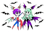 [Inktober 28] Morrigan and Lilith - Cute Team Up by SketchMeNot-Art