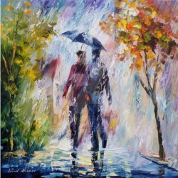 Rainy Weather by Leonid Afremov by Leonidafremov