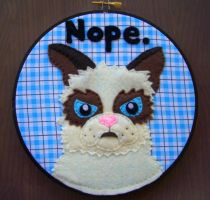 Tard the Grumpy Cat Embroidery 2 by iggystarpup