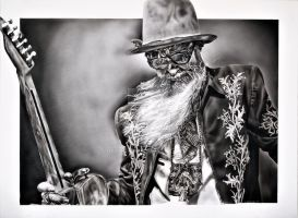 Billy Gibbons by lbarronart print by lbarronart