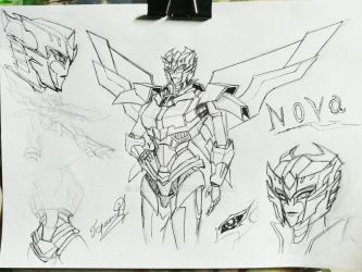 sketch concept art of a new fembot named Nova by Danyus