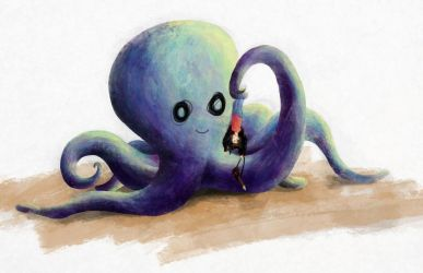 Baby Octopus about to eat Alex Turner by BenJuarez