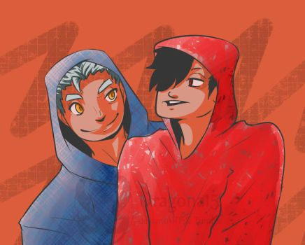 HK Kuroo n Bokuto chill hoodies by Dragona15