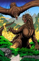 Rodan and Varan color by kaijuverse