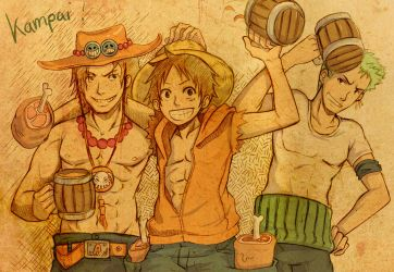 OP rquest01-Ace Luffy and Zoro by AzuraLine