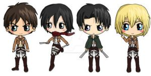 Attack on Titan Chibis by IcyPanther1