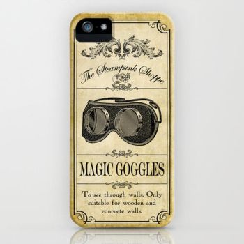 Steampunk Apothecary Goggles iPhone case by VectoriaDesigns