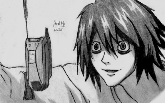 L receives a phone call from Kira- Death Note by rapperfree
