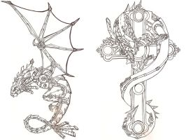 Steampunk Dragon outlines preview by Fachhillis