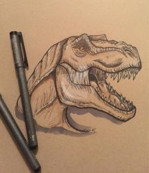 T Rex Head Toned Paper Pen and Ink