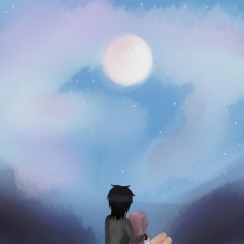 Staring at the moon by LavixKite