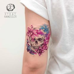 Skull with flower by koraykaragozler