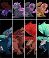 All my dragons thus far. by HEARTSONGDROWNED