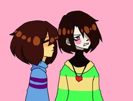 Frisk and Chara by Amythestx