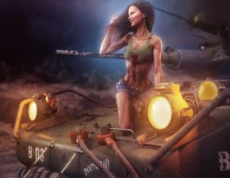 Girl on Tank, Fantasy Woman Pin-Up Art, DS Iray by shibashake