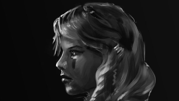 BW profile portrait sketch by tr4ze