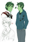 Beast Boy - sketches by RenonsPrints