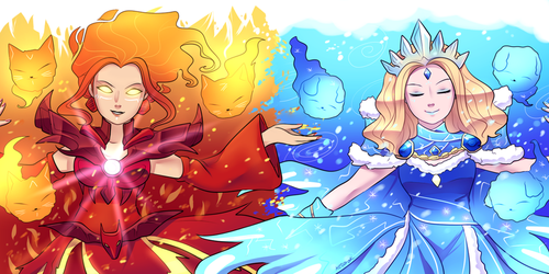 Dota 2 - Fire and Ice spirits by keterok