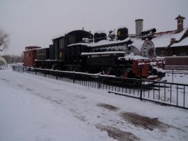 Down at the Station Early Snowy Morning by annieoakley64