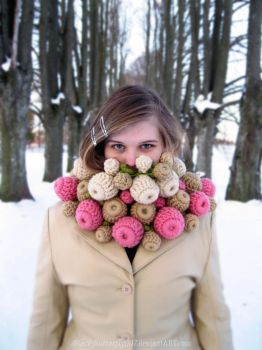 Crocheted Berry Scarf by Si3art