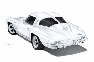 1963 Chevrolet Corvette Sting Ray (C2) Drawing by Vertualissimo