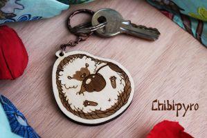 Cherry Hedgedog wooden keychain by ChibiPyro
