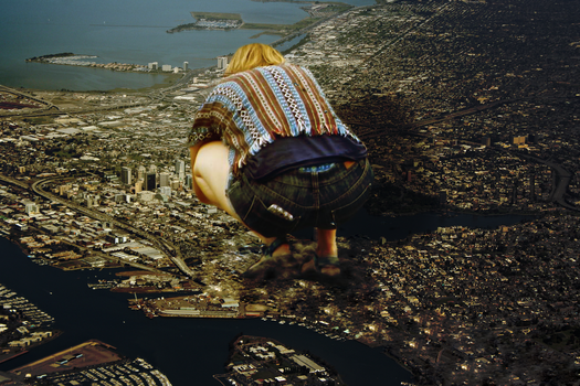 Giantess Ellie Looks Down at her City by dochamps