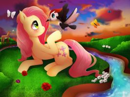 Fluttershy in the Sunset by LiloLoria