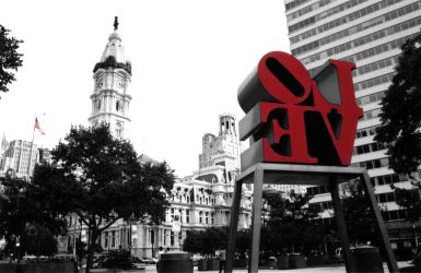 Love Park in Red by fingers2002