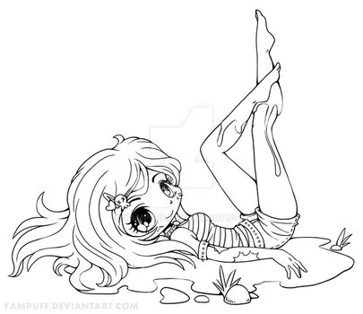 Mud Bath Chibi Lineart by YamPuff