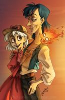 Howl, Sophie, Calcifer by Red-Vanilla19