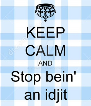 Keep Calm and Stop Bein' an Idjit by Raphi-girl