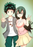 midoriya and tsuyu! by owkine123