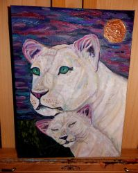 White lioness with cub 'Mothers watch' by TheRaggleTaggleGypsy