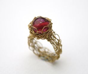 Pink Wire Crochet Ring by WrappedbyDesign