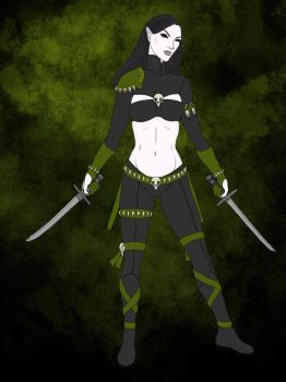 Ellara the Devkarin Ninja (OC) (flat colors) by leonaheidern