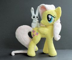 Fluttershy and Angel Plush by OhThePlushabilities