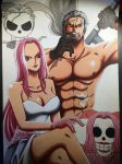 Portrait of Hina and Smoker - One Piece. by LoLoOw