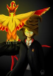 Harry Potter and Fawkes by Zitee