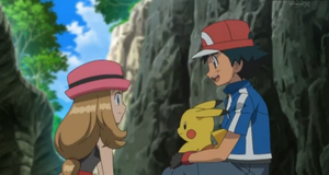 AmourShipping  serena and ash talking to her by Darkramiess