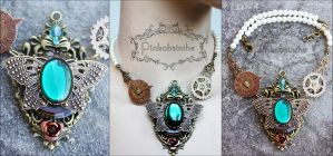 Emerald empress steampunk necklace by Pinkabsinthe