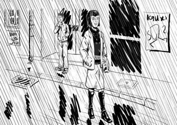 Leaving in the rain by AmorInvictus