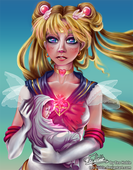 Super Sailor Moon and baby Hotaru by Teo-Hoble