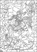 Alucard and wounded Richter by Candra