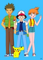 Ash Misty Brock and Pikachu 2 by maskeraderosen