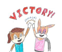 Sally and Bunnie - Victory! by dth1971