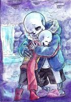 Skelebros hug by paurachan