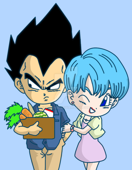 Vegeta Bulma Dragon Ball Suer Calendar redrawn by Dbzbabe