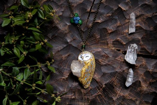 Barn Owl with Rhinestone Polymer Clay Pendant by Lavenderwitch