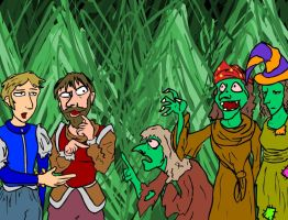 3 Witches, Banquo and Macbeth by e-tahn